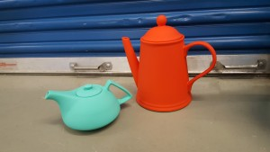 (6) ceramic plastic coated Orange & Teal Tea Pots