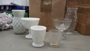 (88) Clear & White Candy Dishes & Votives