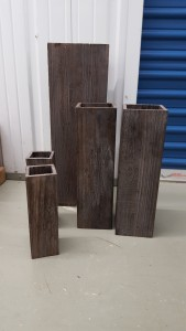 (5) Wood Vases with liners