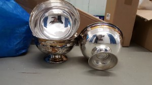 "(3) silver plated Bowls 7"" (need polish)"
