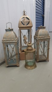 Gold Patina Lanterns (6) SM, (2) LG, (1) XL