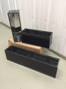 "(4) Long Rectangle Black Vases, Mirrored Inside 19""x3.5""x4.5"" (6) Short Rectangle Black Vases, Mirrored Inside 11.5""x3.5""x4.5"""